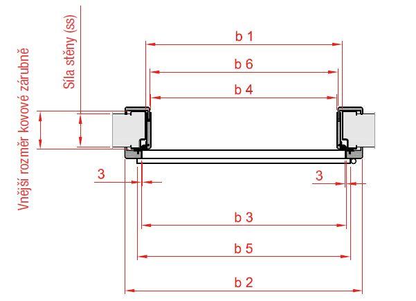 Obklad kovove zarubne rez profilem
