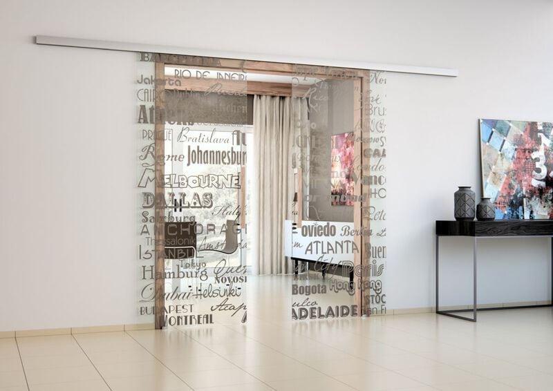 posuvné dveře na stěnu skleněné