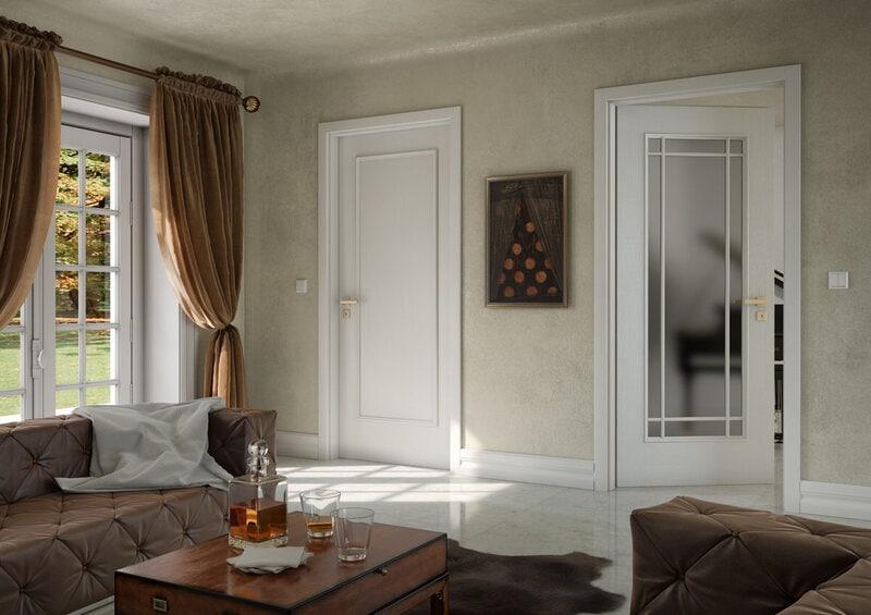 Bílé interiérové dveře Art deco styl