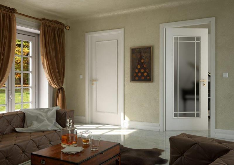 Prosklene interierove dvere sapeli BERGAMO barva bila hladka